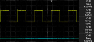 Oscilloscope output when potentiometer set to 100 KOhm