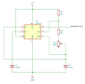 Schematic for a variable speed clock using the NE555 timer